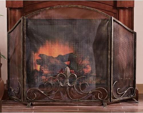 Fleur de lis fireplace screen traditional fireplace accessories by bellacor - Houzz fireplace screens ...