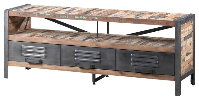 Three drawer tv stand made of recycled wood and industrial - Mobile tv industrial ...