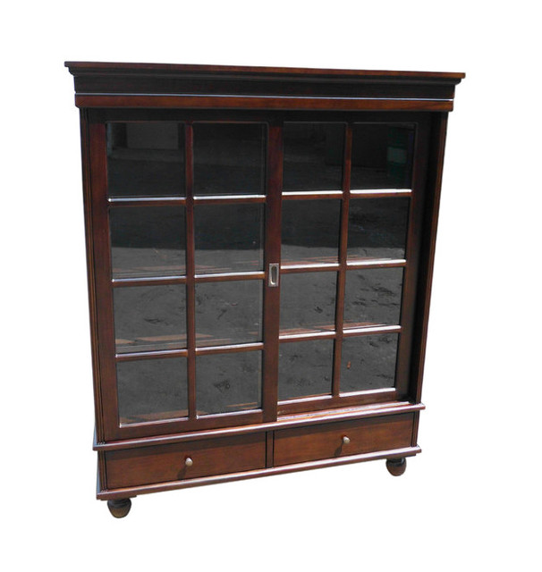 Mahogany Sliding Door Curio - Traditional - China Cabinets And Hutches - by D-Art Collection, Inc