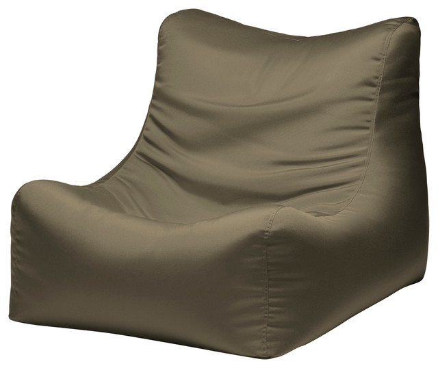 Ponce Outdoor Patio Bean Bag Chair Taupe Contemporary Garden Lounge Chai