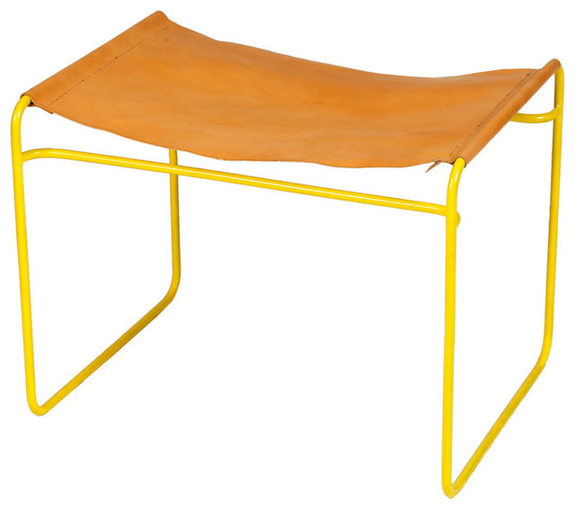 Yellow Metal And Leather Stool Accent And Garden Stools