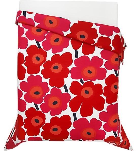 Marimekko Unikko Red Full Queen Duvet Cover Modern