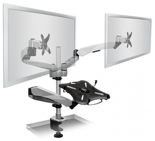 Dual Monitor Desk Mount Clamp Base With Articulating Arms, Cooling Fan - Contemporary - Home ...