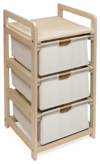 Three Drawer Hamper/Storage Natural/Unfinished Unit - Contemporary - Bathroom Cabinets And ...