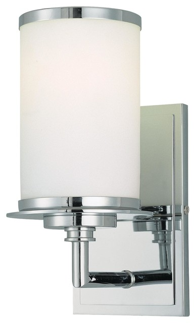 Modern Chrome Wall Sconces : Minka Lavery 3721-77-PL Glass Note Chrome 1-Light Wall Sconce - Modern - Wall Sconces - by ...