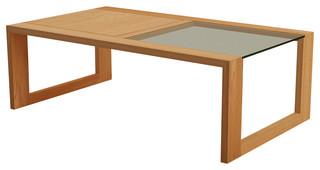Table basse en bois de ch ne 120x70 element contemporain for Table exterieur 120x70