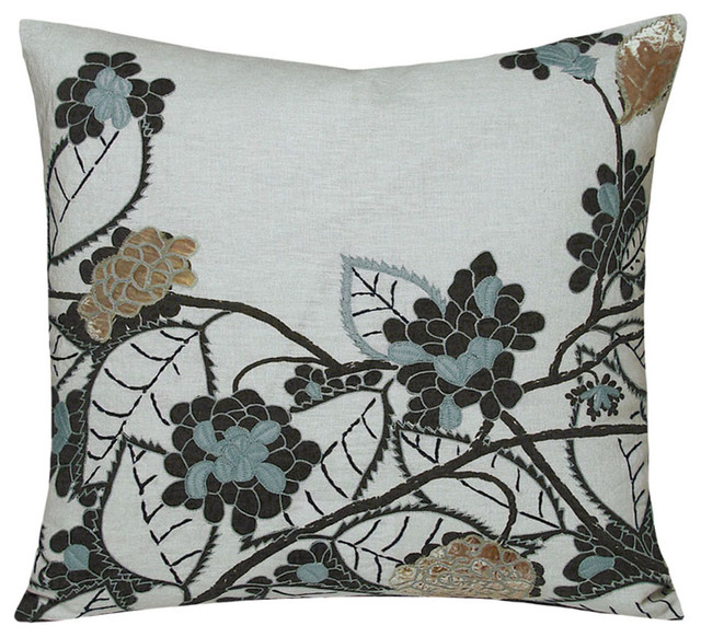 Eclectic Decorative Pillows : Embellished Hydrangea Dusk Pillow - 22