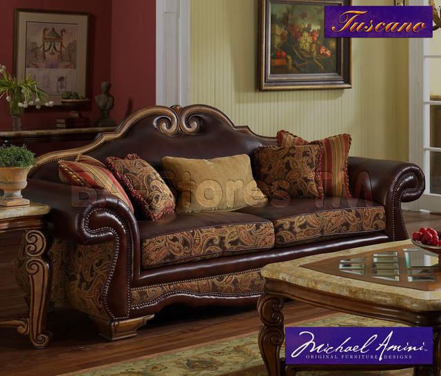 Michael amini leather fabric high back sofa tuscano for Traditional fabric high back sofas