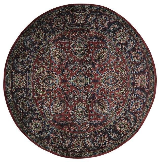 Round Wool Persian Rug: 5'x5' Round Thick And Plush Handmade Pure Wool Rajasthan
