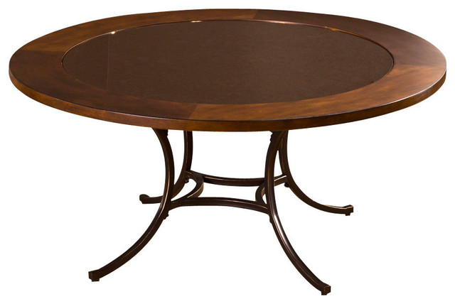 Hillsdale Montclair Round Coffee Table In Wood Border With Mirrored Glass Top Transitional