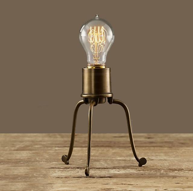 Edison Bulb Fan Floor Lamp: Antique Copper And Edison Bulb Table Lamp