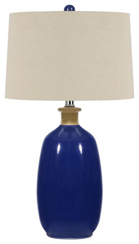 navy blue two light fifteen inch table lamp modern table lamps. Black Bedroom Furniture Sets. Home Design Ideas