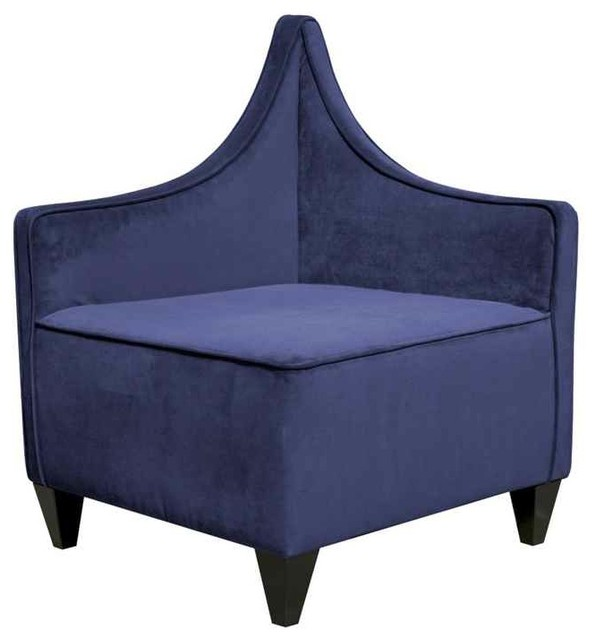 Upholstered Corner Chair In Blue Contemporary