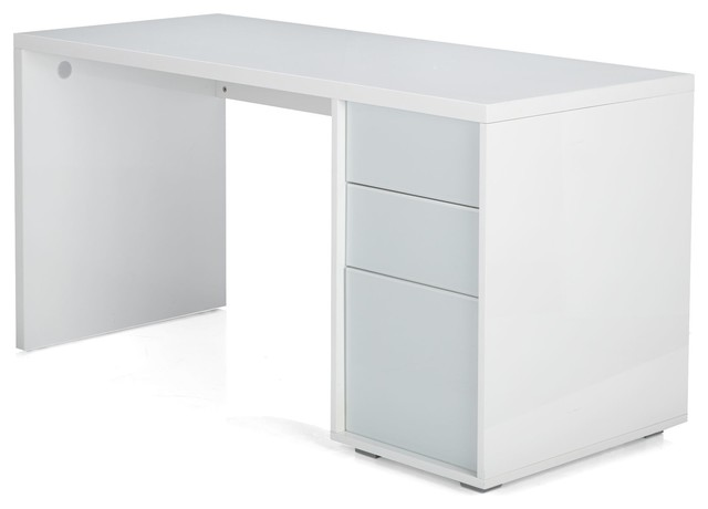 Wally bureau blanc 3 tiroirs contemporain meuble for Meuble bureau contemporain