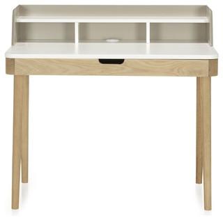 Kinna bureau avec rehausse et tiroir clapet scandinave meuble bureau et - Bureau secretaire enfant ...