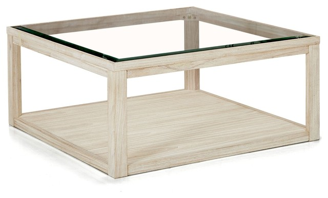 Table basse carree en verre et bois for Table basse bois verre