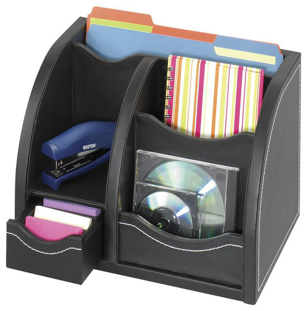 Safco leather look multi organizer in black transitional - Black leather desk organizer ...