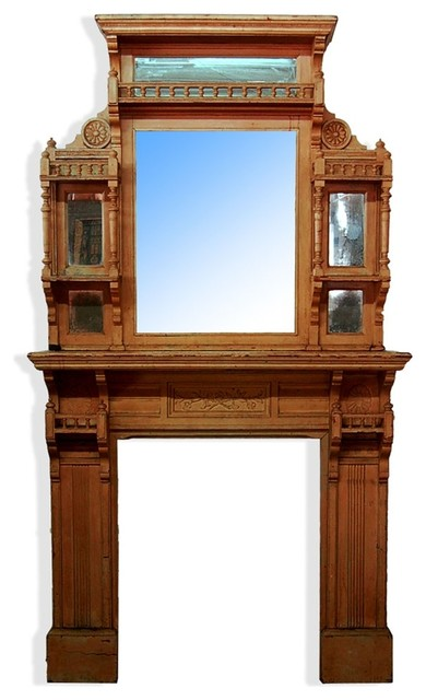 Consigned Antique Walnut Fireplace Mantel And Over Mirror Fireplace Mantels By Antiquarian