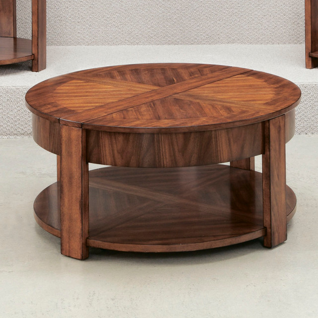 Hammary Maxim Round Lift Lid Cocktail Table In Russet Brown Walnut Contemporary Coffee