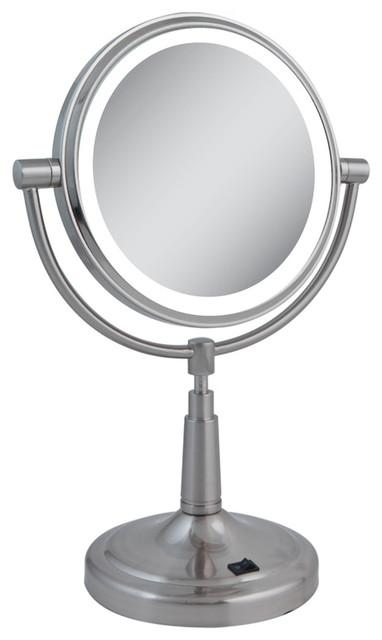 zadro led lighted 1x 5x round vanity mirror in satin nickel ledv45 contempo. Black Bedroom Furniture Sets. Home Design Ideas