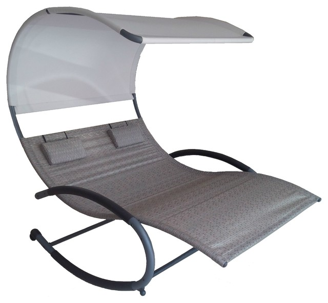 double chaise rocker sienna modern outdoor rocking chairs by vivere ltd. Black Bedroom Furniture Sets. Home Design Ideas