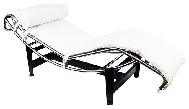 Le Corbusier LC4 Inspired Lounge Chair White 100 Italian Leather Modern