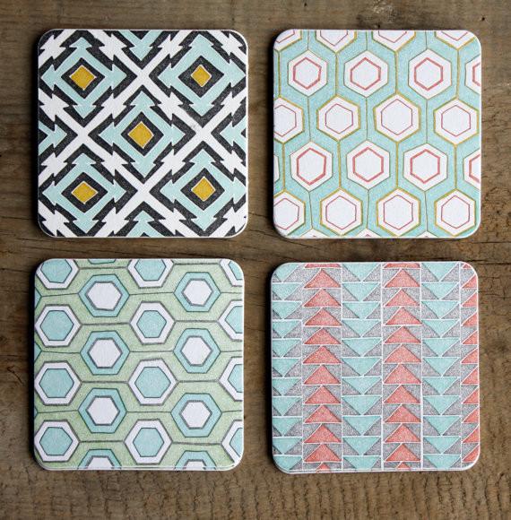 Geometric Letterpress Coasters by One Canoe Two Letterpress - Modern - Coasters - by Etsy