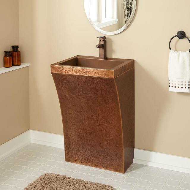 Curved Bathroom Sink : Curved Hammered Copper Pedestal Sink - Modern - Bathroom Sinks - by ...