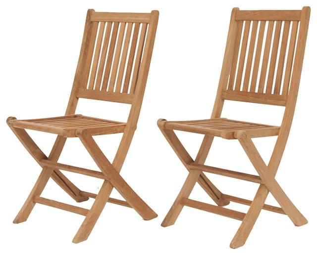 Amazonia Teak London Teak Folding Chair Contemporary