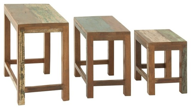 Benzara simple wood nesting table set of 3 23523 for Kitchen design 06606