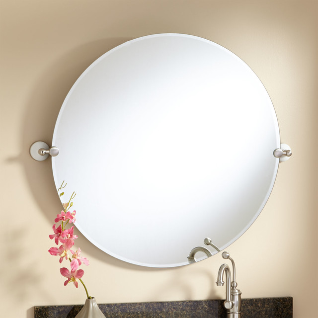 32 houston round tilting mirror modern bathroom mirrors by signature hardware for Round tilting bathroom mirror