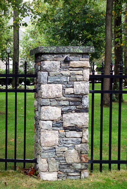 Brick And Stone Columns : Natural stone and brick pillars providence by set in