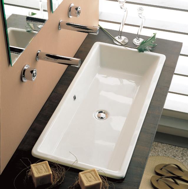Built In Ceramic Bathroom Sink By Scarabeo Modern