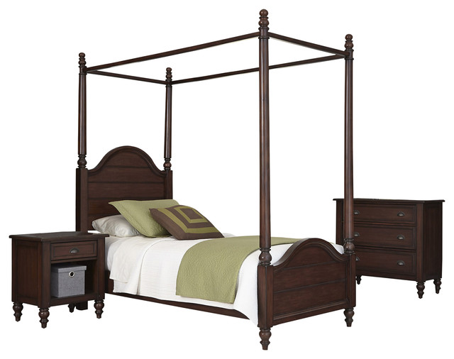 Country Comfort Twin Canopy Bed Nightstand And Chest Traditional Bedroom Furniture Sets