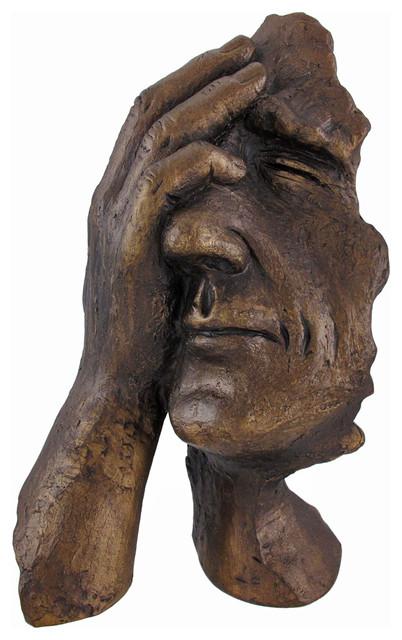 Bronze Finish `Struggle` Facepalm Figural Statue ...