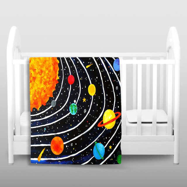 Dianoche throw blankets solar system eclectic throws for Solar system fleece fabric