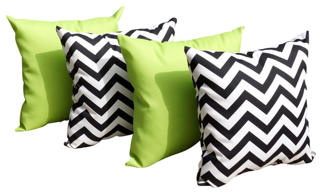Black White And Green Throw Pillows : Sundeck Lime Green And Chevron Black And White Outdoor Throw Pillow, Set of 4 - Contemporary ...