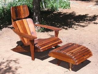 Adirondack Chair Lounger And Ottoman Made From Reclaimed