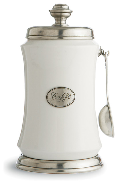 Festivo Coffee Canister with Spoon  Farmhouse  Kitchen Canisters And