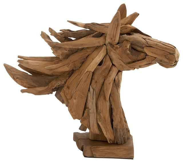 Teak Driftwood Horse Head Sculpture Rustic Home Decor