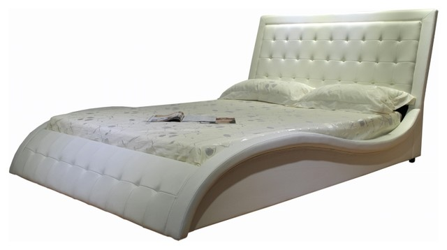 Greatime California King White Wave Like Shape Upholstered Bed