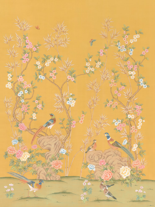 Chinoiserie Wall Mural Rafah Beige, Golden, Large