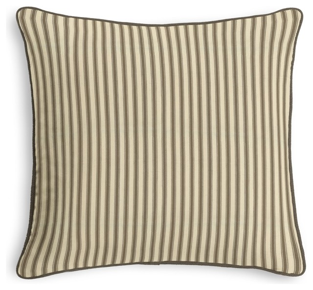 Traditional Throw Pillows : Taupe Ticking Stripe Corded Throw Pillow - Traditional - Decorative Pillows - by Loom Decor