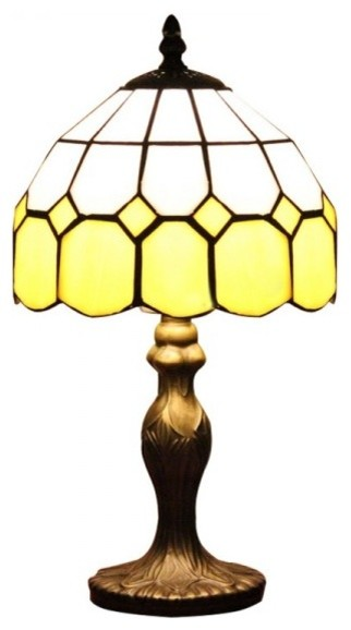 Resin Base Tiffany Glass Bedside Table Lamps Yellow