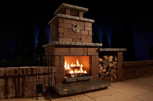 Compact stone outdoor fireplace kit craftsman outdoor for Craftsman gas fireplace