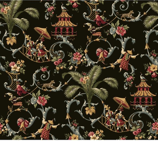 Thai Design Wallpaper : Waverly mandarin toile wallpaper asian by