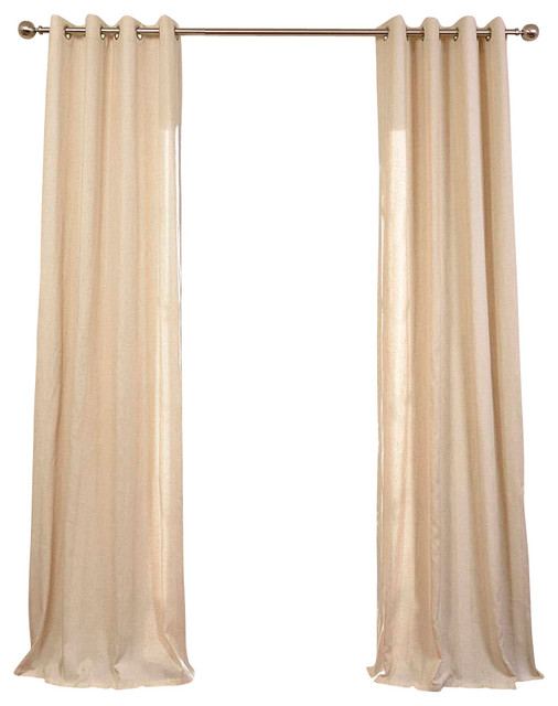 Lanai Natural Grommet Linen Blend Stripe Curtain Single Panel - Contemporary - Curtains - by ...