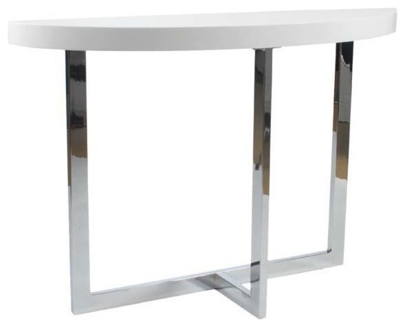 Eurostyle oliver half moon console table in white lacquer for Modern white lacquer console table