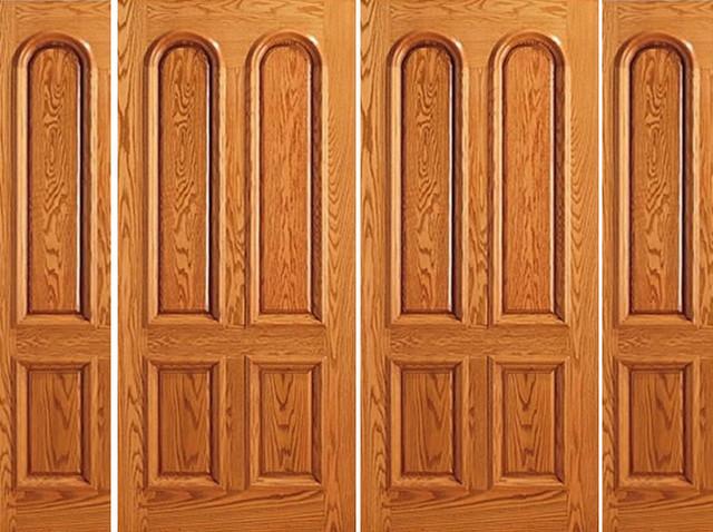 Mahogany Prehung Double Door Two Side lights 4 Panel Moulding Door - Traditional - Front Doors ...