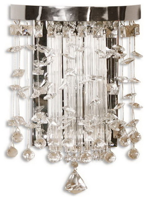 Uttermost 22445 Fascination Crystal Wall Sconce Transitional Bathroom Vanity Lighting By